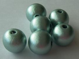 Houten kraal 14mm mintgroen parelmoer