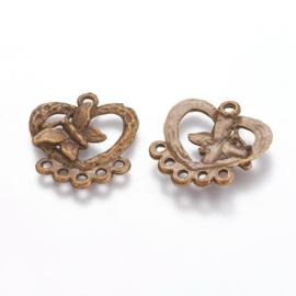 Hanger/connector hart met vlinder antiek brons