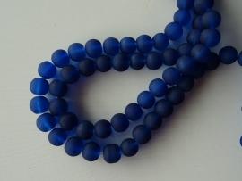 Glaskraal frosted 10 mm donkerblauw, 12 stuks