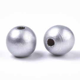 Houten kraal glanzende zilverkleur, 25 stuks