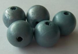Houten kraal 14mm blauwgroen