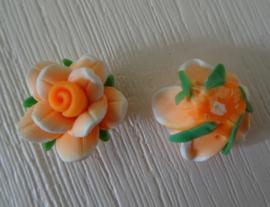 Fimo kraal roosje gemeleerde kleur, oranje