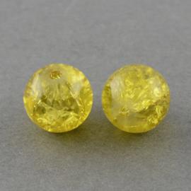 Cracklekraal in goudgeel 8mm, 20 stuks