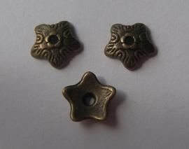 Kralenkapjes antiek brons, 12 stuks