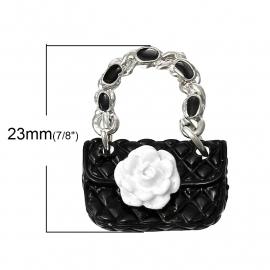 Hanger zwart tasje met witte bloem