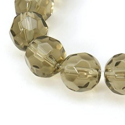 Glaskraal facet rond 10 mm grijs