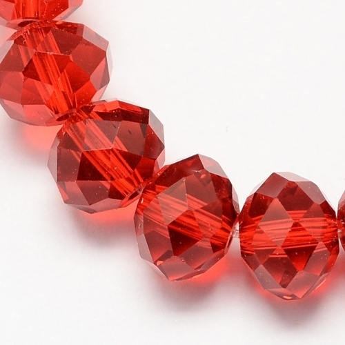 Glazen facetkraal rondel rood, 10 x 7 mm