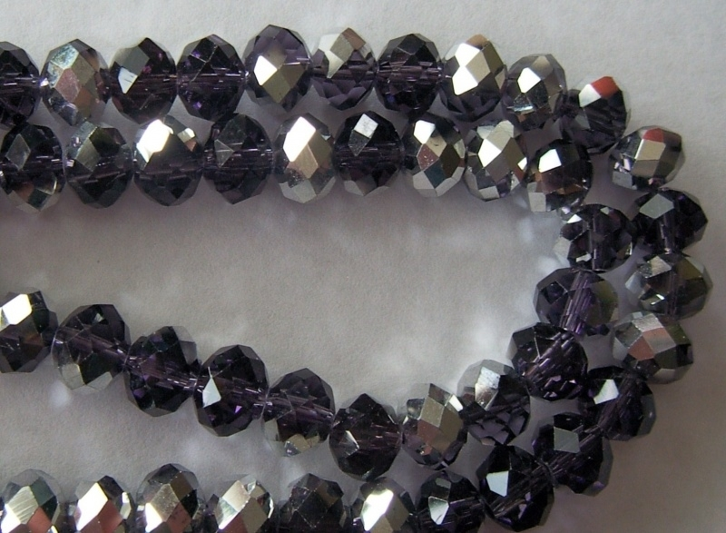 Facetkraal rondel paars 8x6 mm