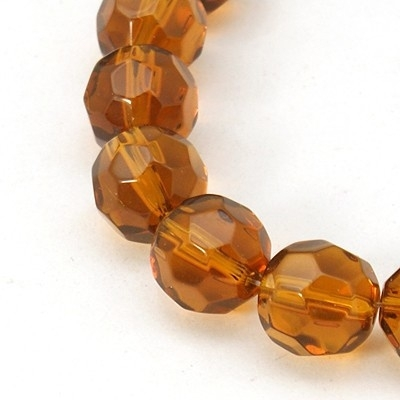 Glaskraal facet rond 10 mm bruin