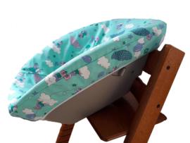 textielset / hoes voor stokke newborn set kleur mintgroen met beertjes