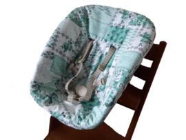 textielset / hoes voor stokke newborn set kleur mintgroen vlinders en bloemen