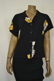Billy B Blouse 214 met kraag mix batik zwart vis