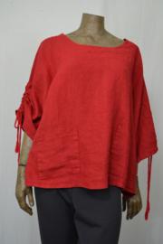 La Bass blouse rood aangeknipte mouw met zakjes