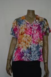 Billy B Blouse 214 met kraag mix batik rose/bruin/blauw