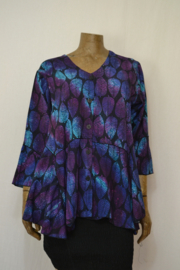 Billy B Blouse 151 mix Batik paars/blauw blad