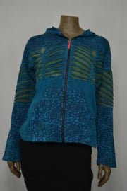 Ixtlan Vest met capuchon blauw/groen mt. L/XL