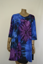 Normal Crazy Shirt A line Dress 3/4 Tai Dai bpaars/blauw