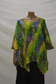 Shirt Disini D10 groen/geel bloem