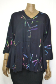 Billy B Blouse 151 3/4 mouw mix batik zwart libel
