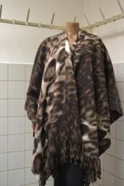Boris Omslagdoek bruin tijger. Ook in grijs, nachtblauw, taupe en bruin.