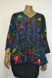 Billy B Blouse 151 3/4 mouw mix batik schildering