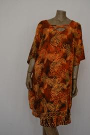Billy B Blouse / Jurk / Kaftan oranje 169 met halskruis voor of achter