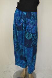 Normal Crazy Broek Sindi + 10 patch batik blauw extra lang 106