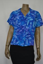 Billy B Blouse 214 met kraag mix batik blauw