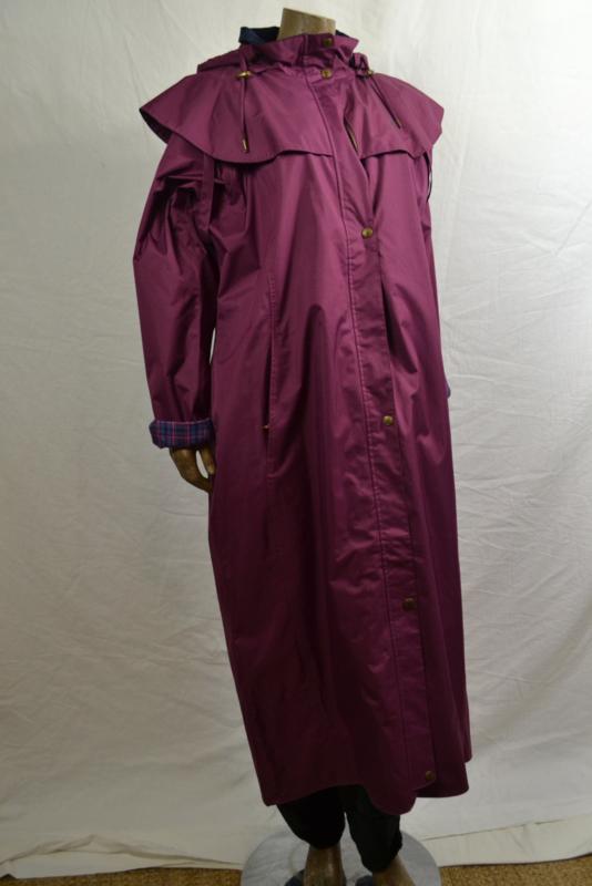 Paard jas donker roze/paars lang 100% wind/water dicht