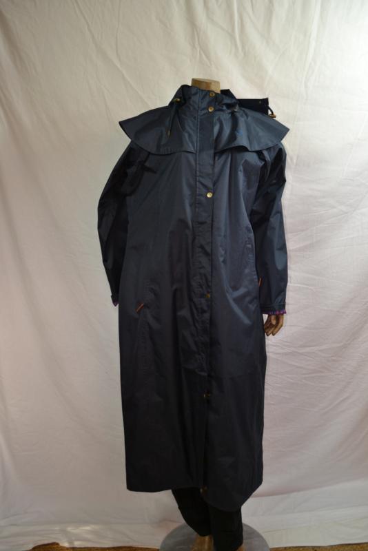 Paard jas donker blauw 100% wind/waterdicht met capuchon