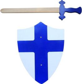 Zelfvertrouwen: Houten zwaard met schild