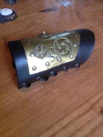 Steampunk polsband leer metaal