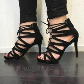 Lace Up Heels Black