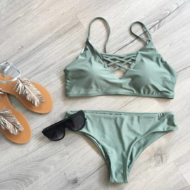Lace up Bikini Green