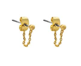 Oorbellen Dot Chain Gold