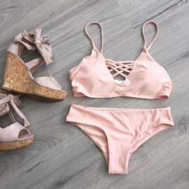 Lace up Bikini Pink