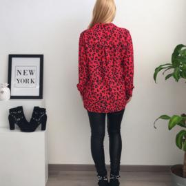 Animal Print Blouse - Red