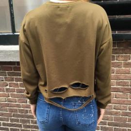 Destroyed Crop Sweater Green