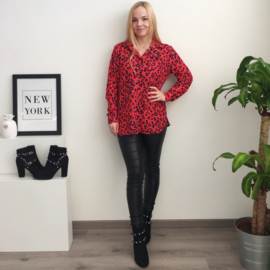 Animal Print Blouse - Red