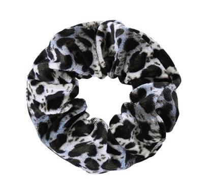 Scrunchie velvet Leopard Black Grey