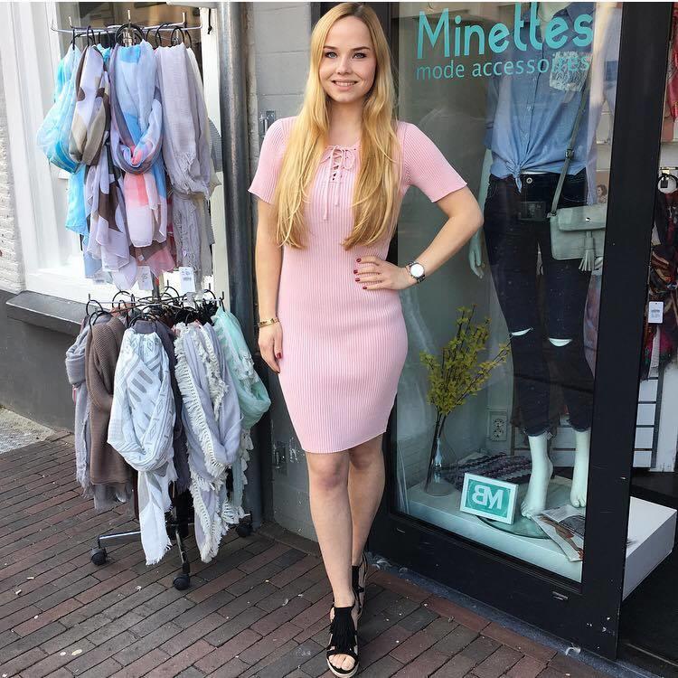 Rib Dress Pink
