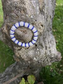 Knotband glamspacer royal blue/zilver