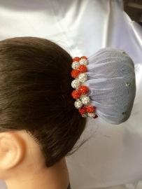 Knotband Glamballa oranje-wit(zilver)