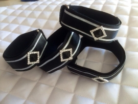 Luxery  bandage straps in black & silver  4pcs