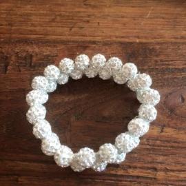 Knotband Glamballa zilver/wit
