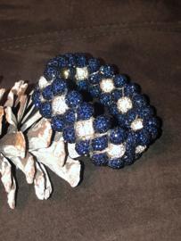 Glamballa elastische knotband Navy/wit