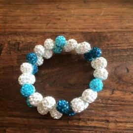 Knotband Glamballla turquoise/azuur/zilverwit