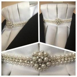 Dressage stocktie Custer of pearl & rhinestone