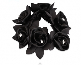 Glamourhorze black rose crunchie with rhinestones