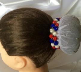 Knotband Glamballa rood-wit-blauw